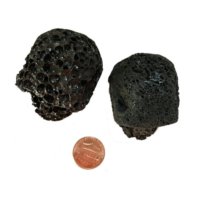 Lava Skull 03 Set Brown & Black Carving Stone Pair - I Dig Crystals