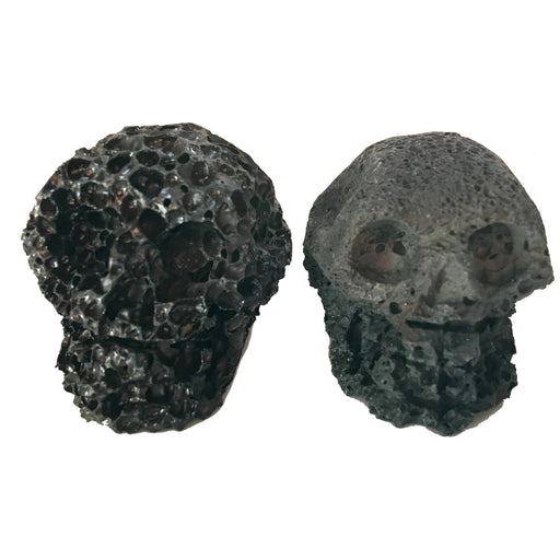 "Lava Skull 1.9"" Collectible One-of-Kind Set Black Porous Stone Essential Oil Diffuser C02"