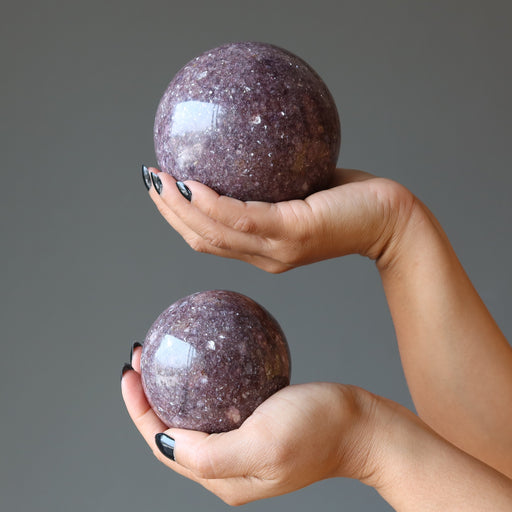 pair of hands holding purple lepidolite spheres in each palm
