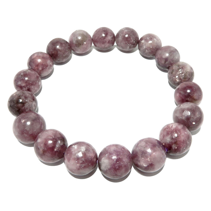 light purple lepidolite round beaded stretch bracelet