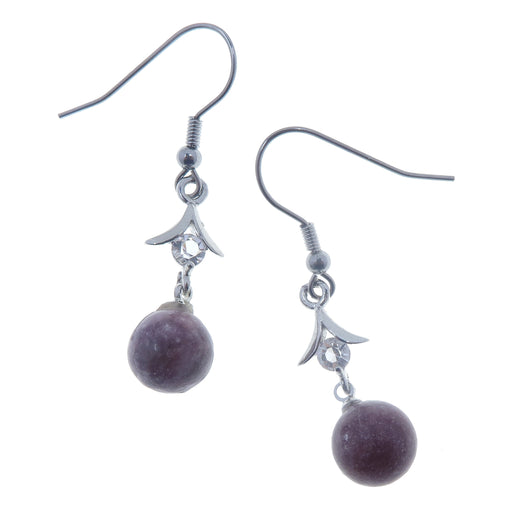 "Lepidolite Earrings 1.7"" Purple Gemstone Sparkling Lavender Stone Silver Dangle Crystal 01"