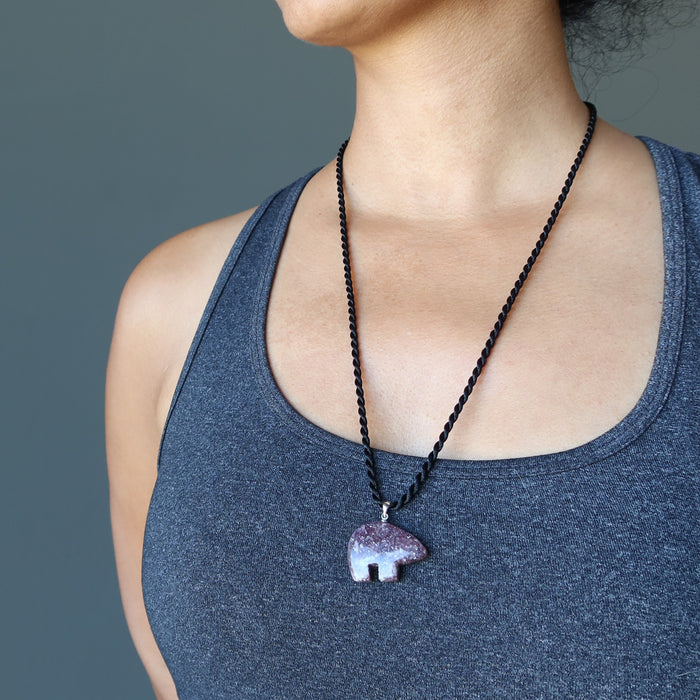 Lepidolite Bear Necklace Purple Spirit Animal Gemstone Black Twist Cord