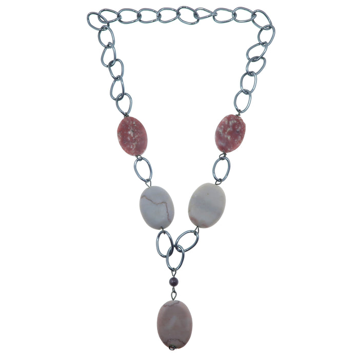 "Lepidolite Necklace 24"" One-of-Kind Gunmetal Chain Pink Stone Marble"