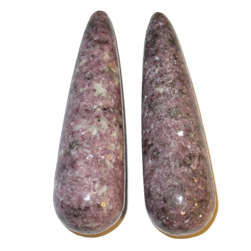 purple lepidolite tapered massage stone pair