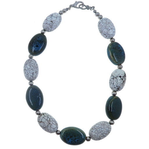 "Magnesite Necklace 17"" Specialty One-of-Kind Chunky Big White Blue Ceramic Oval Beaded S03"