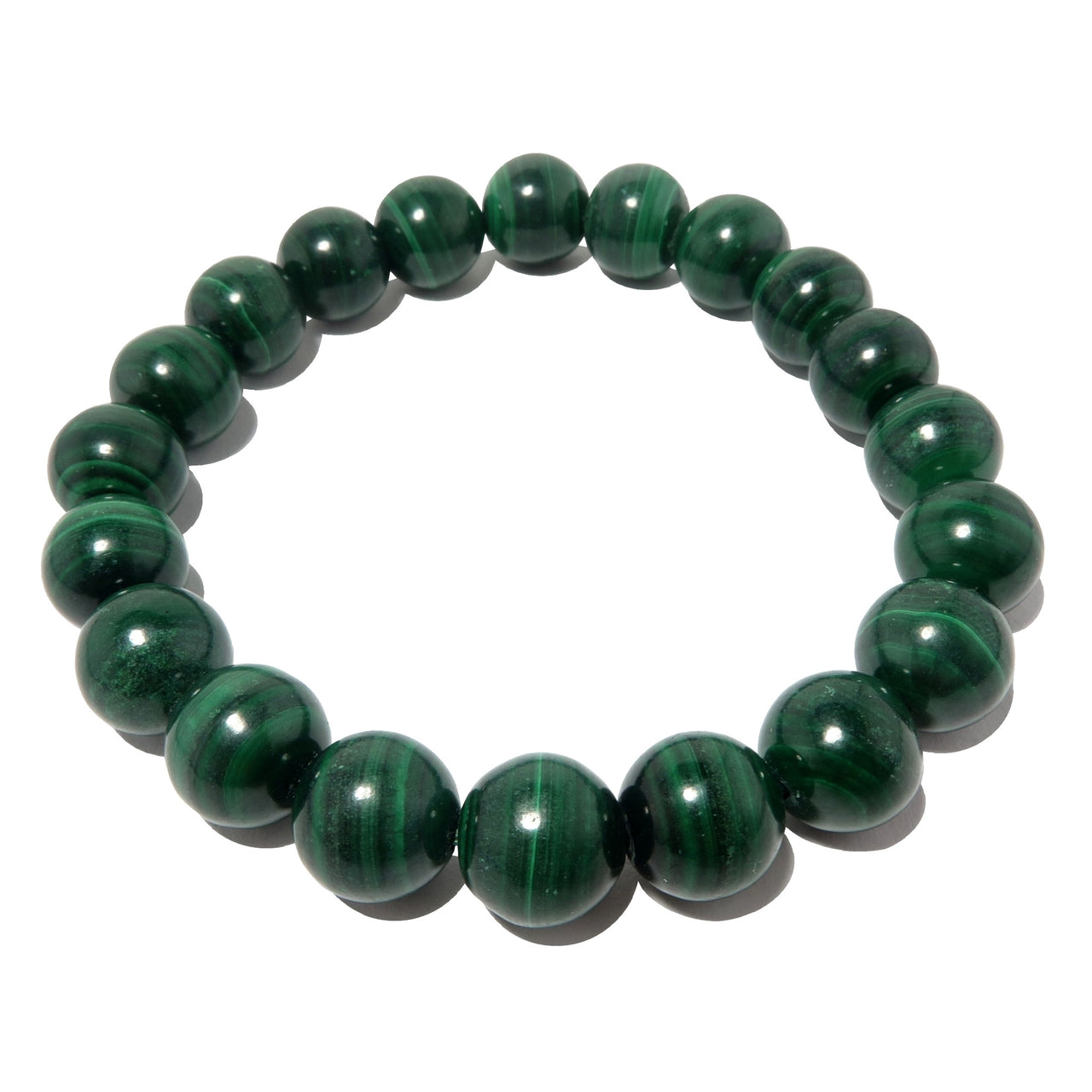 Malachite Bracelet 9mm Dark Green Round Gemstone Nature Lovers Stone Stretch Jewelry B02