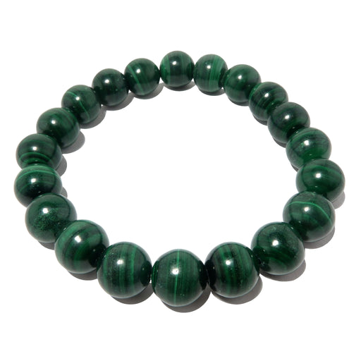 Malachite Bracelet 9mm Earthy Dark Green Round Natural Gemstone Stretch