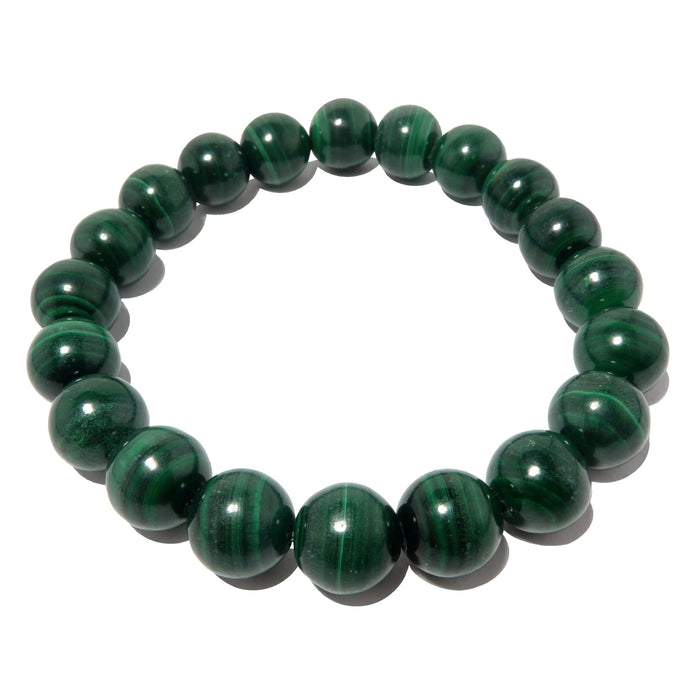 dark green banded malachite round beaded stretch bracelet
