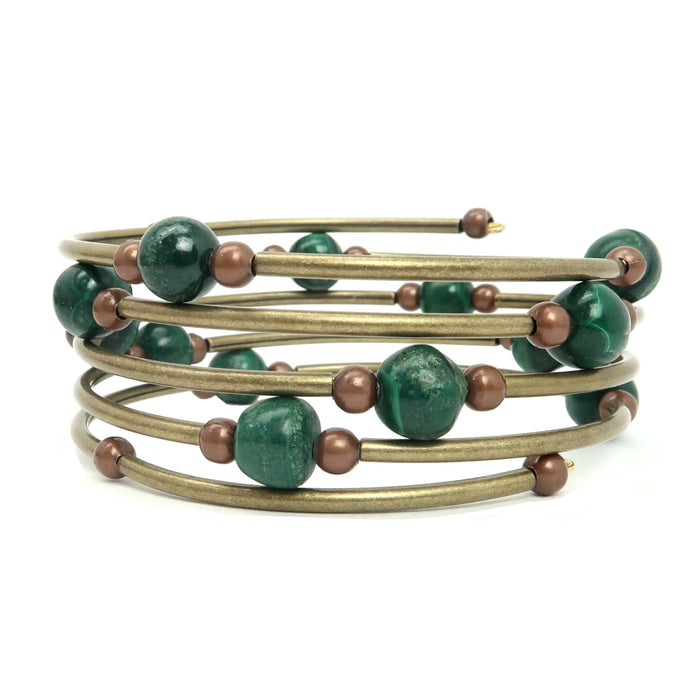 5 layer memory wire bracelet full of malachite and golden rustic beads