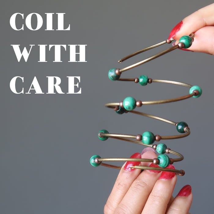 "Sheila Satin pulling the green malachite memory wire bracelet and the phrase next to image reads ""coil with care"""