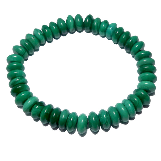 Malachite Bracelet Saucer Beaded Stretch Genuine Lush Green Gemstones
