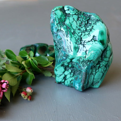 malachite chrysocolla polished cluster with flowers