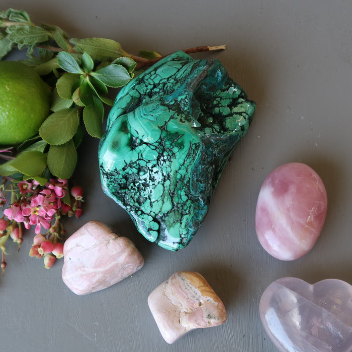 malachite chrysocolla polished cluster with pink stones, flowers and lime