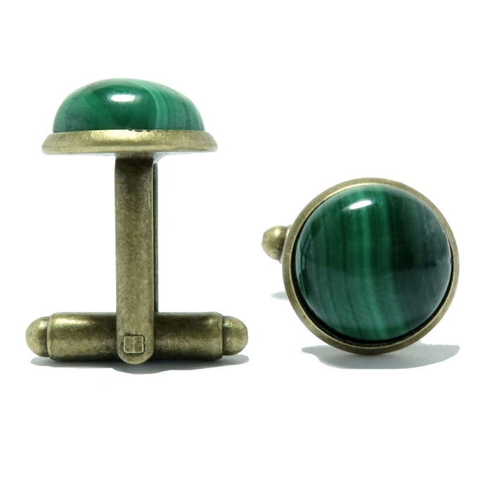 Malachite Cufflinks Antique Bronze 12mm Genuine Green Gemstone