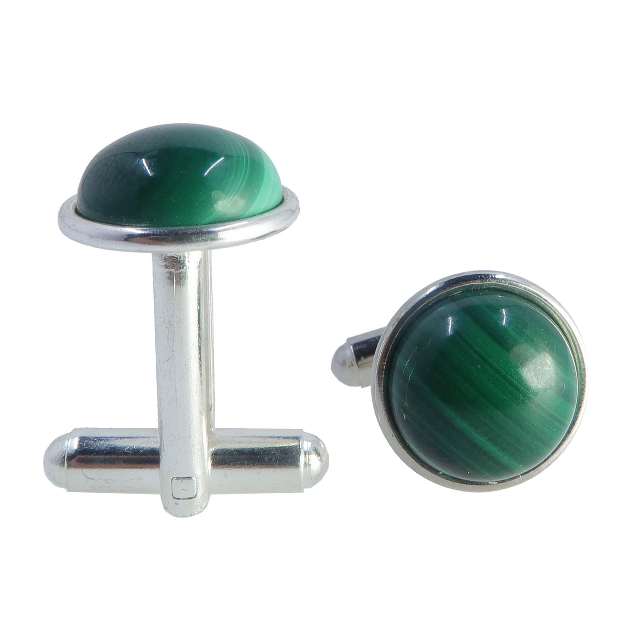 Malachite Silver Cufflinks 12mm Real Green Gemstone Round Stone Unisex Fashion B01
