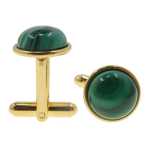 green malachite round gemstone cufflinks in gold plated brass