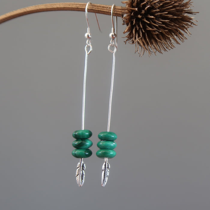Malachite Earrings Antiqued Sterling Silver Feather Green Disc Gemstone