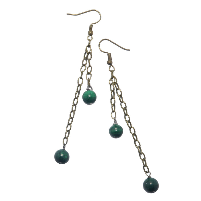 "Malachite Earrings 3.5"" Long 2-Chains Antiqued Steel Designer Green Gemstone Confidence B04"