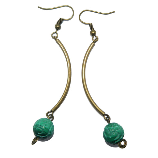 Malachite Emerald Isle Earrings Green Carved Gemstone Antique Curve