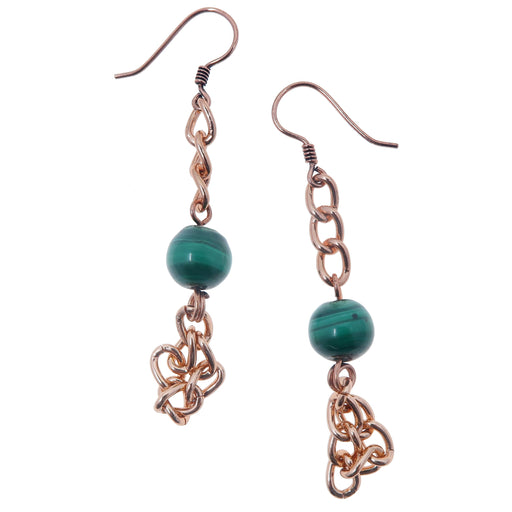 "Malachite Earrings 2.6"" Boutique Green Gemstone Copper Chain Dangle Funky Designer B02"