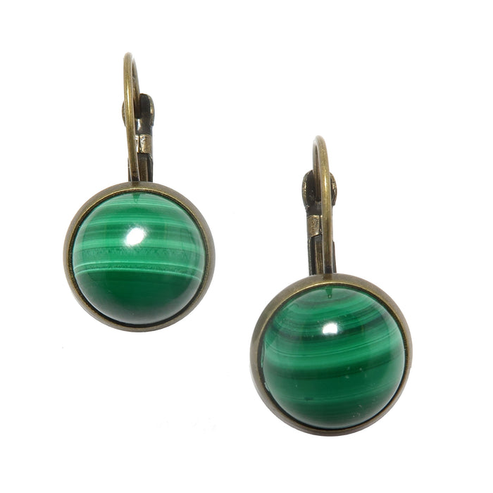 malachite stones in antique leverback earrings