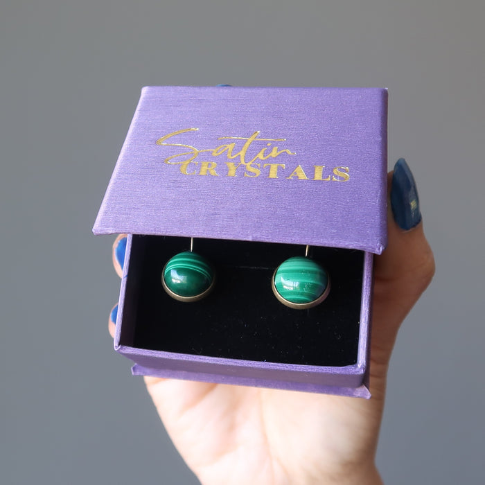 malachite bronze leverback earrings in purple satin crystals box