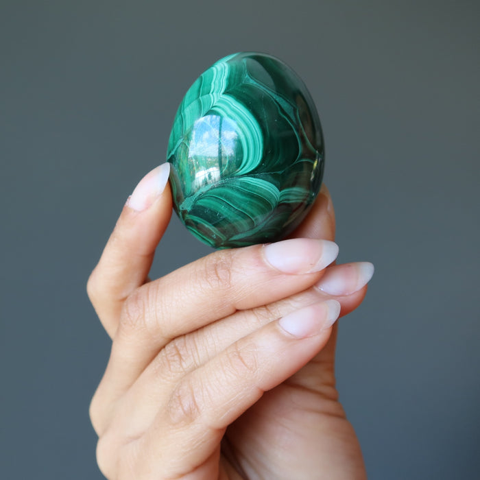 Malachite Egg Vivid Green Garden of Life Spring Easter Decor Gemstone P01