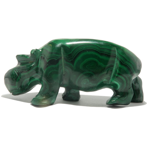 Malachite Hippopotamus Green Hippo Figurine Stone Carving Crystal
