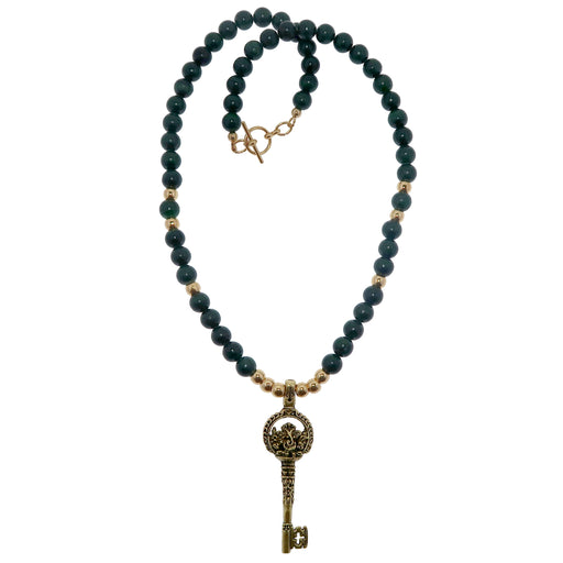 Malachite Necklace Boutique Ganesh Elephant God Skeleton Key Abundance Green Stone B01