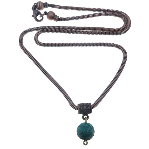 malachite carved travel necklace