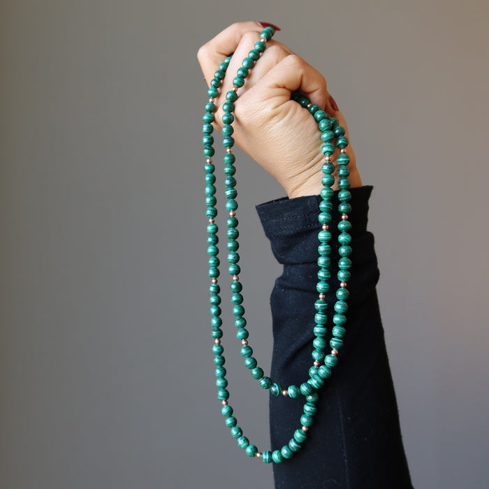 Malachite Multi-strand Necklace Genuine Green Gemstone Double Layer Copper