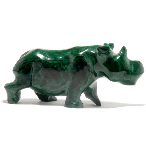 malachite rhinoceros carving