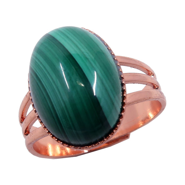 Malachite Ring Boutique Green Oval Banded Gemstone Crystal Healing Adjustable B01 (Copper)