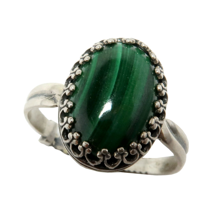 Malachite Ring Sterling Silver Adjustable Genuine Green Oval Gemstone