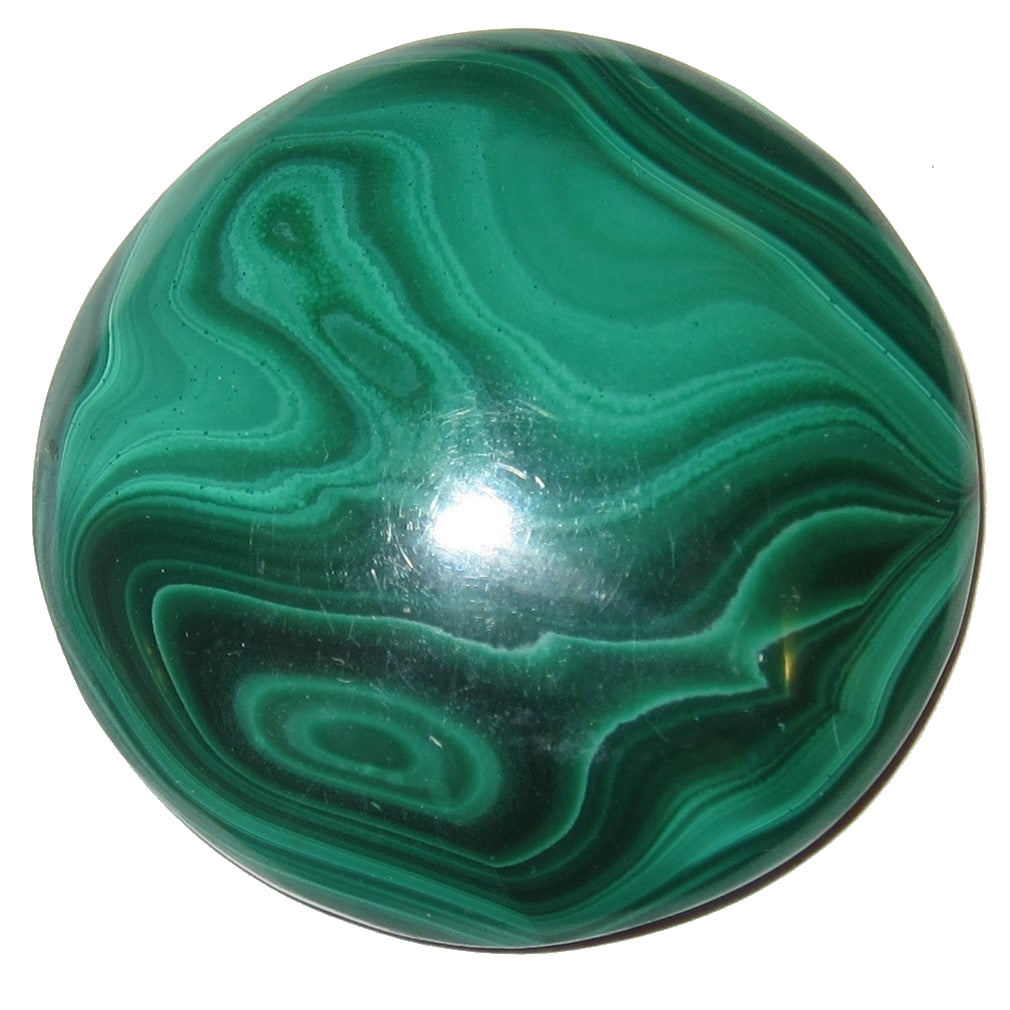 "Malachite Cabochon 1.5"" Specialty Round Green Healing Medallion S07"