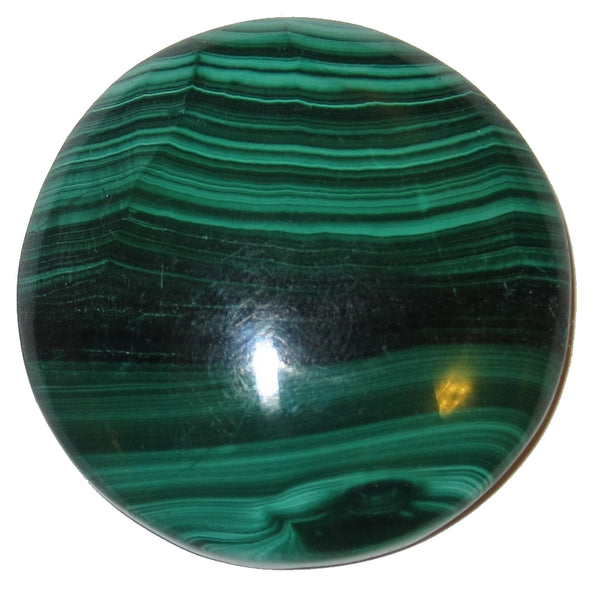 "Malachite Cabochon 1.5"" Specialty Round Green Striped Planet Crystal S09"