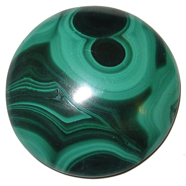 "Malachite Cabochon 1.5"" Specialty Buddha in Meditation Rare Green S10"