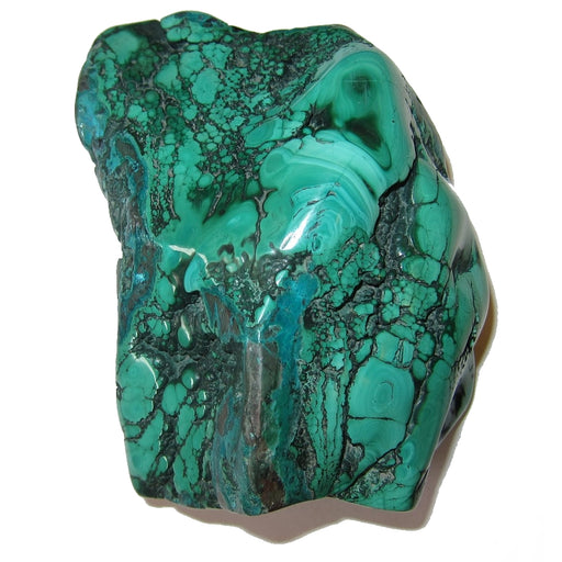 "Malachite Polished Stone Cluster 4.3"" Collectible Attractive Standing Green Crystals with Blue Chrysocolla Rare Sculpture African Mineral C52"