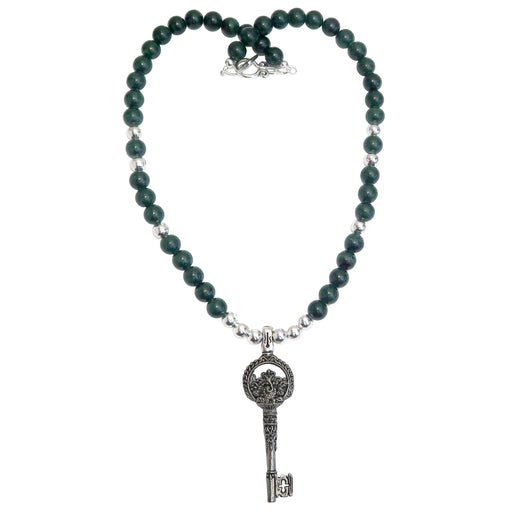 Malachite Necklace Ganesh Elephant God Skeleton Key Abundance Green Stone
