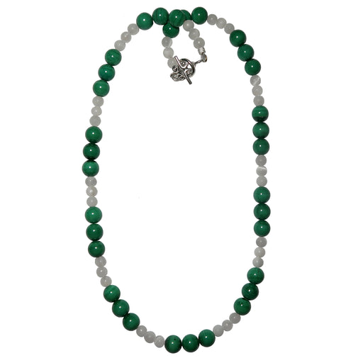 green malachite and white selenite round beaded necklace with silver toggle clasp