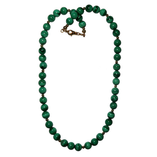 Malachite Necklace 7mm Boutique Green Gemstone Round Beaded Gold Love Chakra B03