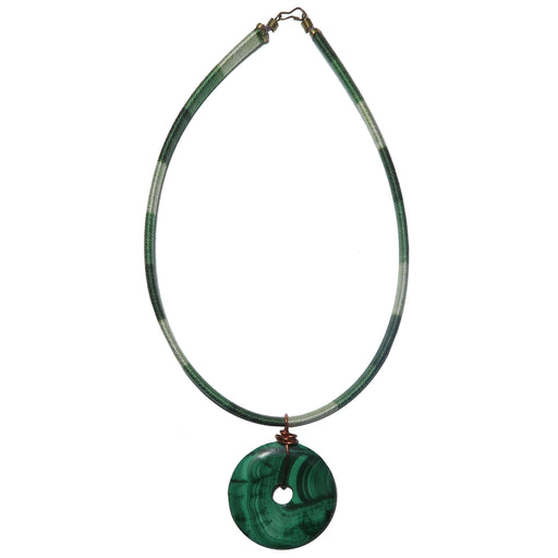 "Malachite Necklace 15"" Specialty Green Gemstone Donut Choker One-of-Kind S03"