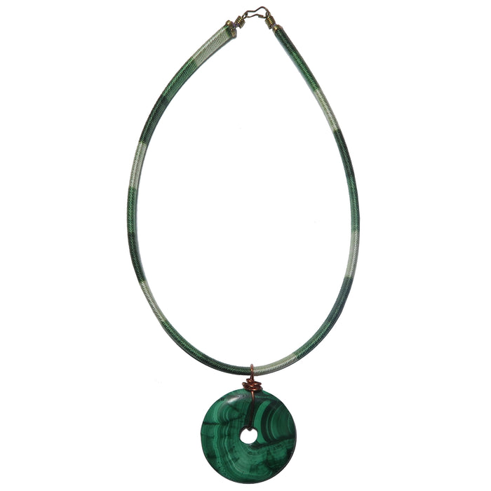 Malachite Necklace Green Gemstone Donut Choker One-of-Kind
