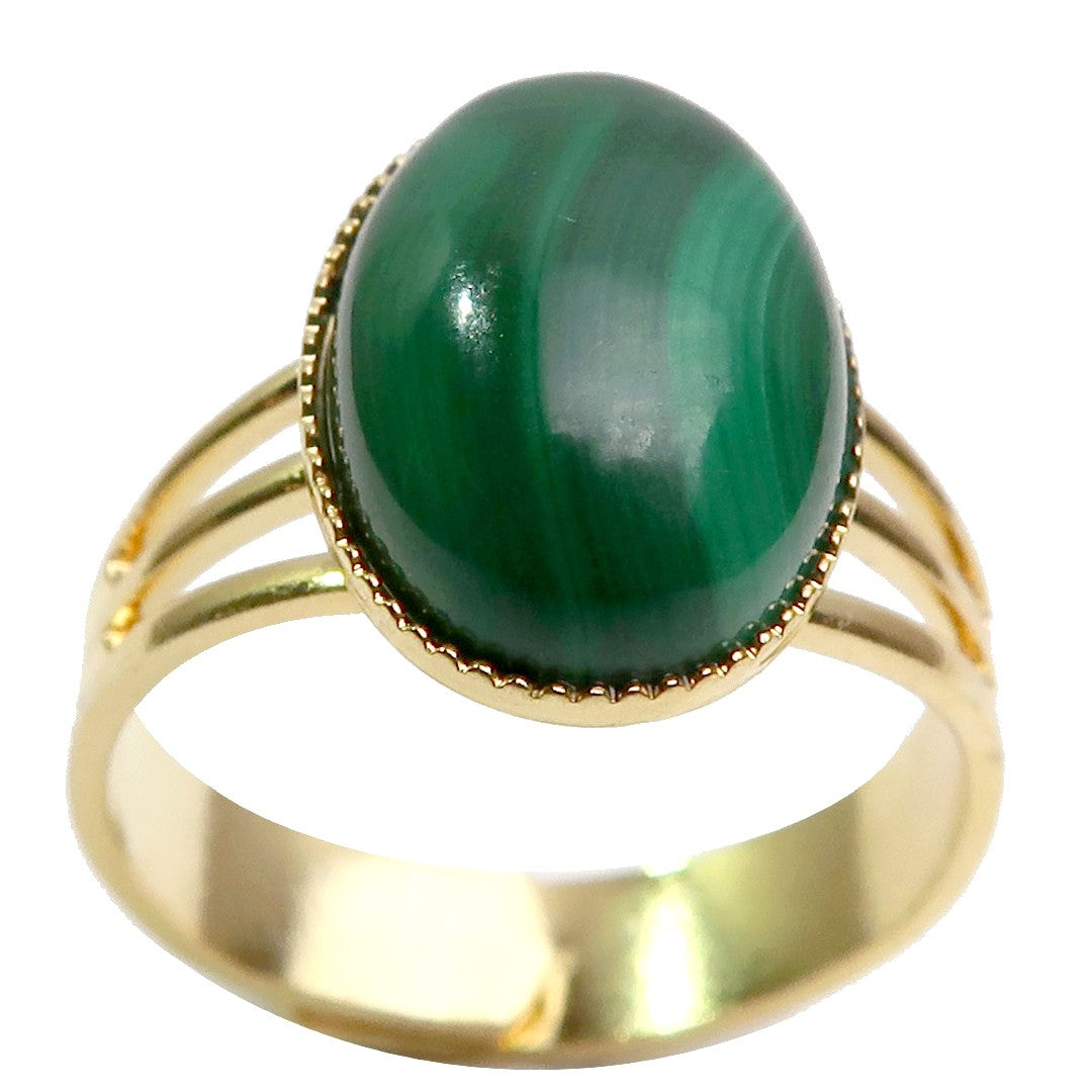 Malachite Ring Boutique Green Oval Gemstone Banded Stone Adjustable Metal B01 (Gold)