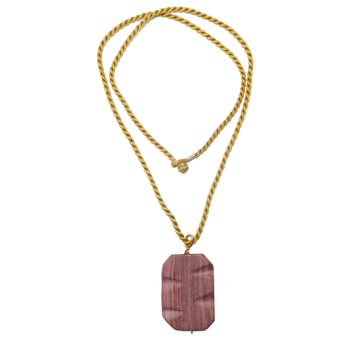 "Marble Necklace 24"" One-of-Kind Redline Carved Rectangle Gold Twist Cord"