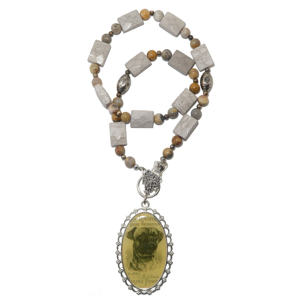 "Marble Necklace 20"" Specialty One-of-Kind Bulldog Yellow Crazy Lace Agate Faceted Stone S02"