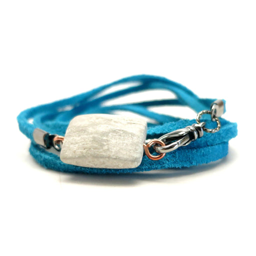"Marble Bracelet 31"" Convertible White Faceted Stone Anklet Necklace Turquoise"