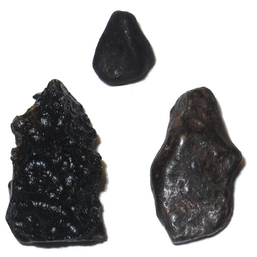 Real Meteorite set by Satin Crystals includes black tektite, chelyabinsk and agoudal space rocks