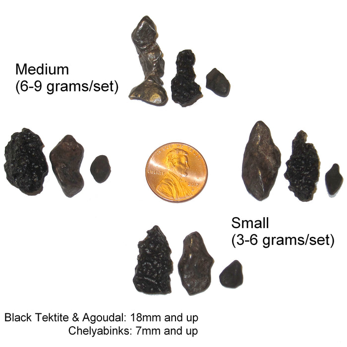 Four different meteorite sets show the variety of sizes and shapes available from the satin crystals online crystal healing store