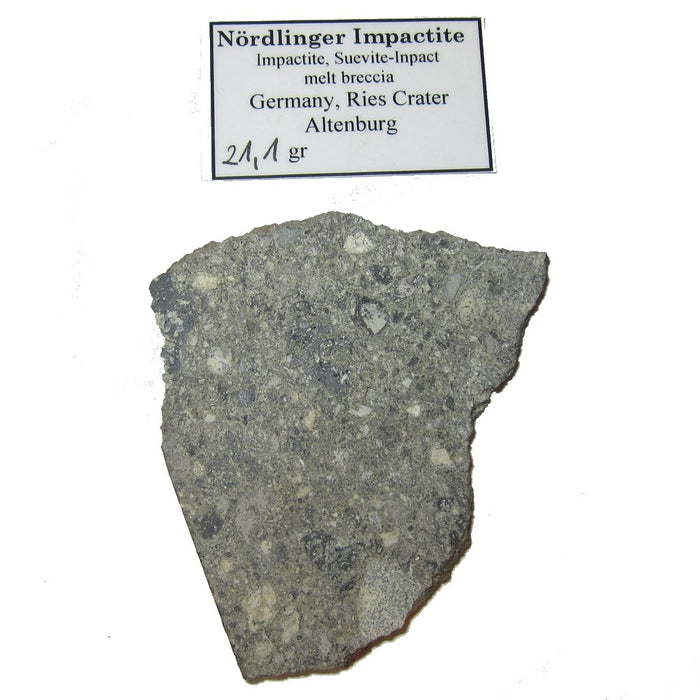 "Meteorite Nordlinger Collectible Rare Slice of Space Ries Crater Moldavite Landing Site in Suspension Box Display C50 (Constellations 2.9"")"